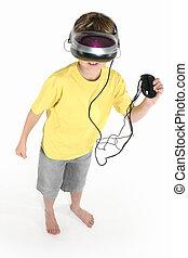 menino, com, um, realidade virtual, jogo