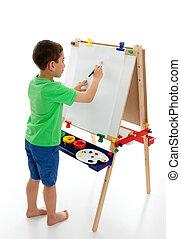 menino, começar, pintar, um, quadro
