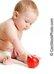 menino, comendo alimento, bebê saudável, isolat