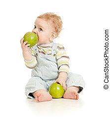 menino, comendo alimento, isolado, bebê saudável