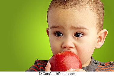 menino, comendo maçã, bebê, retrato, vermelho