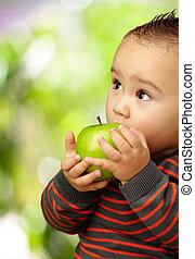 menino, comendo maçã, verde, bebê, retrato