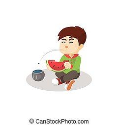 menino, comendo melancia