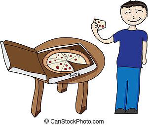 menino, comendo pizza