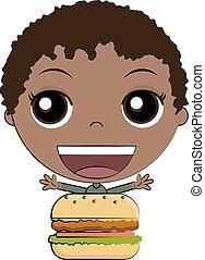 menino, comer, caricatura, hambúrguer