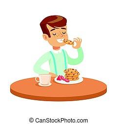 menino, comer, coloridos, sentando, biscoitos, personagem, ilustração, vetorial, tabela, feliz