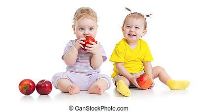 menino, comer, saudável, isolado, alimento, menina bebê