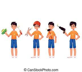 menino, como, mecânico, repairman, segurando, chave fenda, martelo, broca, chave
