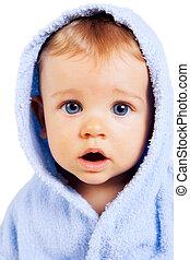 menino, conceito, engraçado, -, rosto, bebê, surpresa, espantado