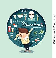 menino, conceito, médico, cuidados de saúde, ilustração,...
