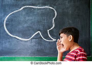 menino, conceito, shouting, argumento, luta, hispânico, frustração