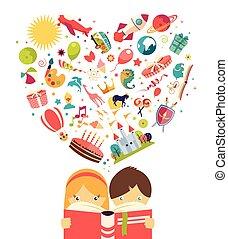 menino, conceito, voando, imaginação, objetos, leitura menina, livro, saída