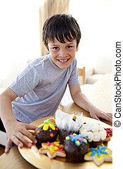 menino, confectionery, comer, coloridos, feliz