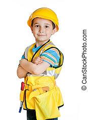 menino, construtor, ferramentas, uniforme