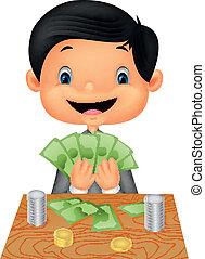 menino, contagem, caricatura, dinheiro