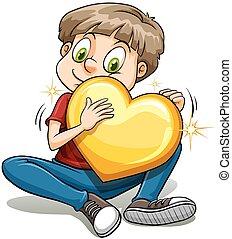 menino, coração ouro