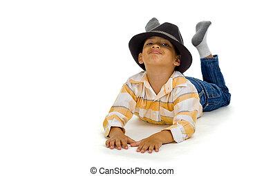 menino, corte, chapéu