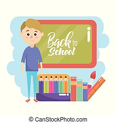 menino, creions, educação, régua, quadro-negro