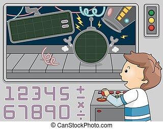 menino, criança, números, matemática, mecânico