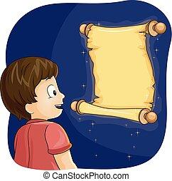 menino, criança, scroll, ilustração, mágico