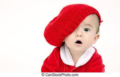menino, criança, seu, olhar, sob, senta-se, chapéu, vermelho