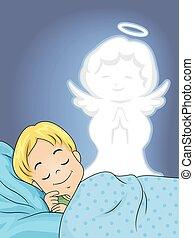 menino, criança, sono, anjo, guardião
