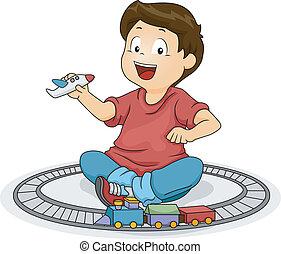 menino, criança, tocando, brinquedos