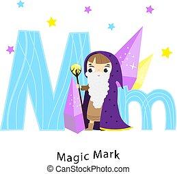 menino, crianças, letras, mark., m, caricatura, characters., alphabet., inglês, magia, mágico, crianças