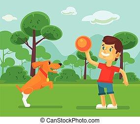 menino, cute, cão, tocando