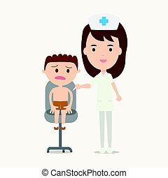 menino, dar, ilustração, vacinação, vetorial, enfermeira, injeção