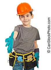 menino, dar, trabalhador, agitação mão, pequeno