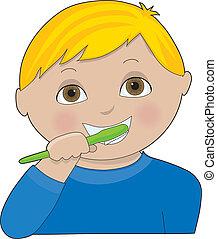 menino, dentes escovando