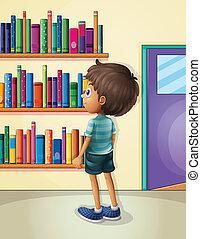 menino, dentro, biblioteca