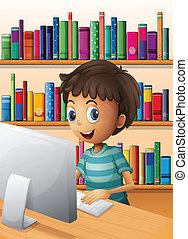menino, dentro, computador, biblioteca, usando