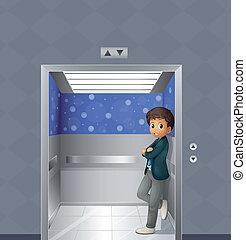 menino, dentro, elevador