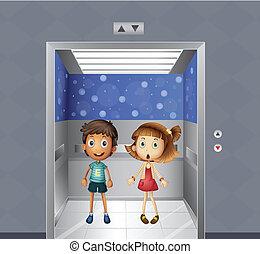 menino, dentro, menina, elevador