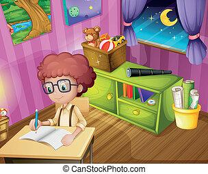 menino, dentro, seu, sala, escrita