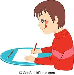 menino, desenho, feliz