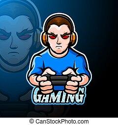 menino, desenho, gamer, logotipo, mascote, esport