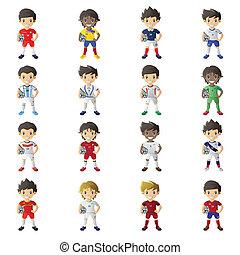 menino, desgastar, futebol, jersey, segurando, um, bola futebol