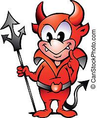menino, diabo pequeno, vermelho