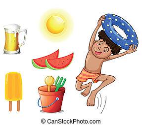 menino, diferente, coisas, verão