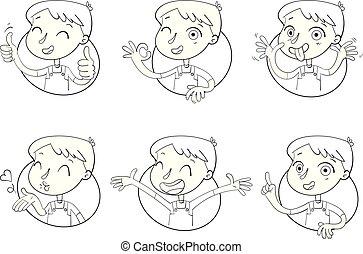 menino, diferente, situations., emoções, rosto