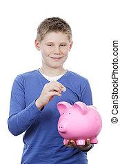 menino, dinheiro saving, em, um, piggybank