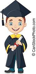 menino, diploma, graduação, traje, segurando, caricatura