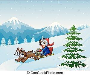 menino, dois, neve, baixo, caricatura, puxado, cachorros, sledding