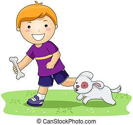 menino, e, animal estimação, cão