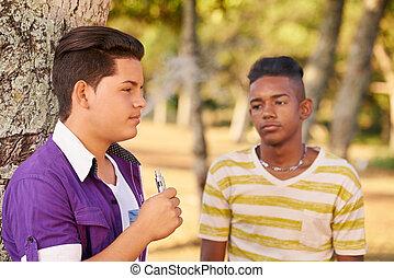 menino, e-cig, cigarro, adolescente, fumar, eletrônico