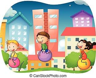 menino, e, meninas, pular, ligado, a, bola, parque