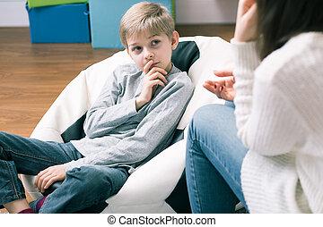 menino, e, psicológico, sessão